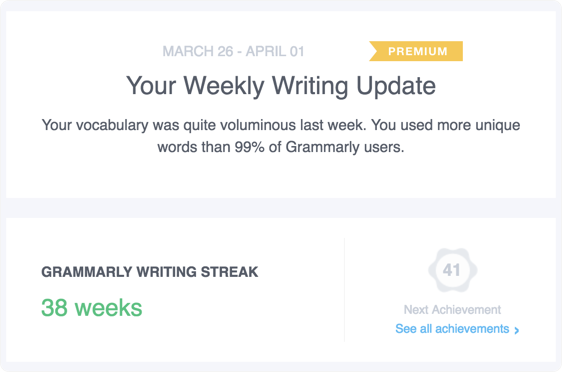 this progress report is an analysis of your writing with grammarly and provides insights that may help you to become an even better writer