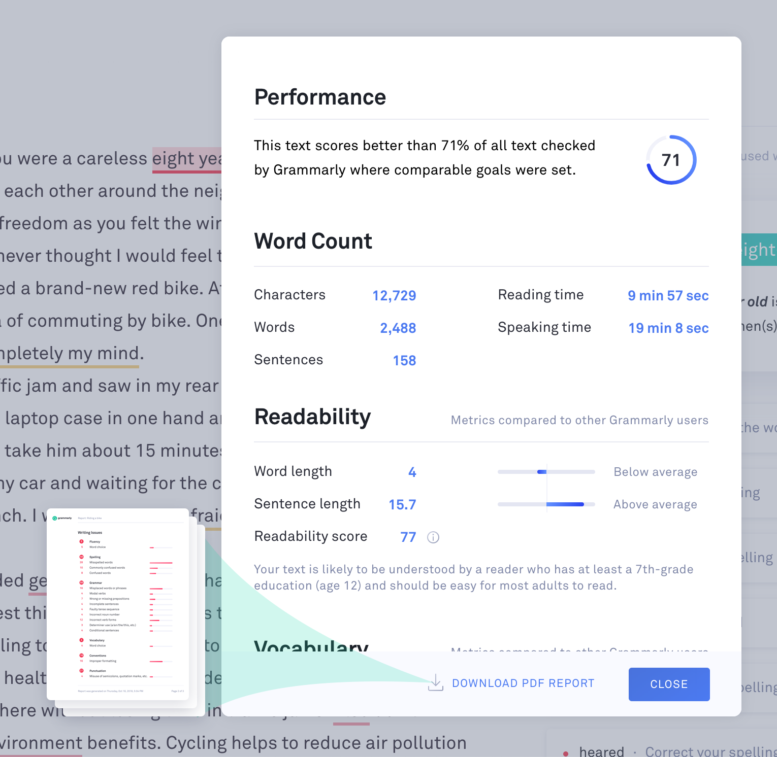 Download Pdf Report Of Document Statistics Grammarly Support