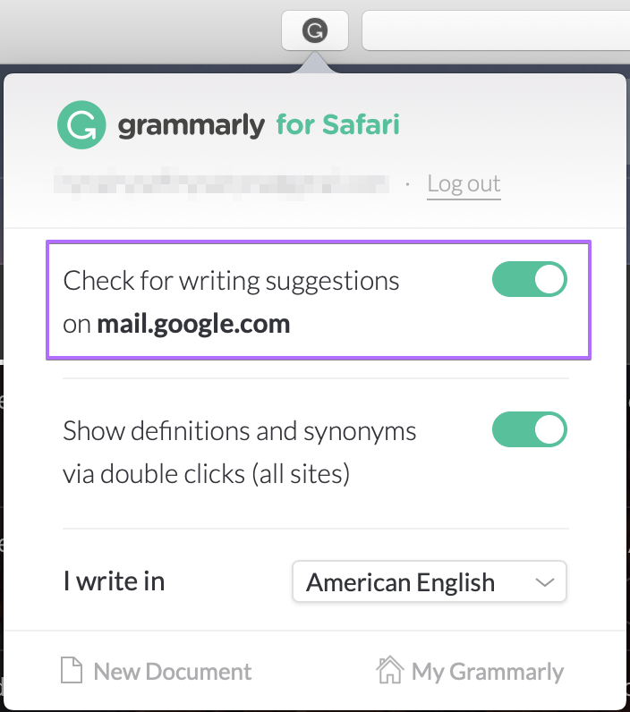Disable the Grammarly extension on one or more websites